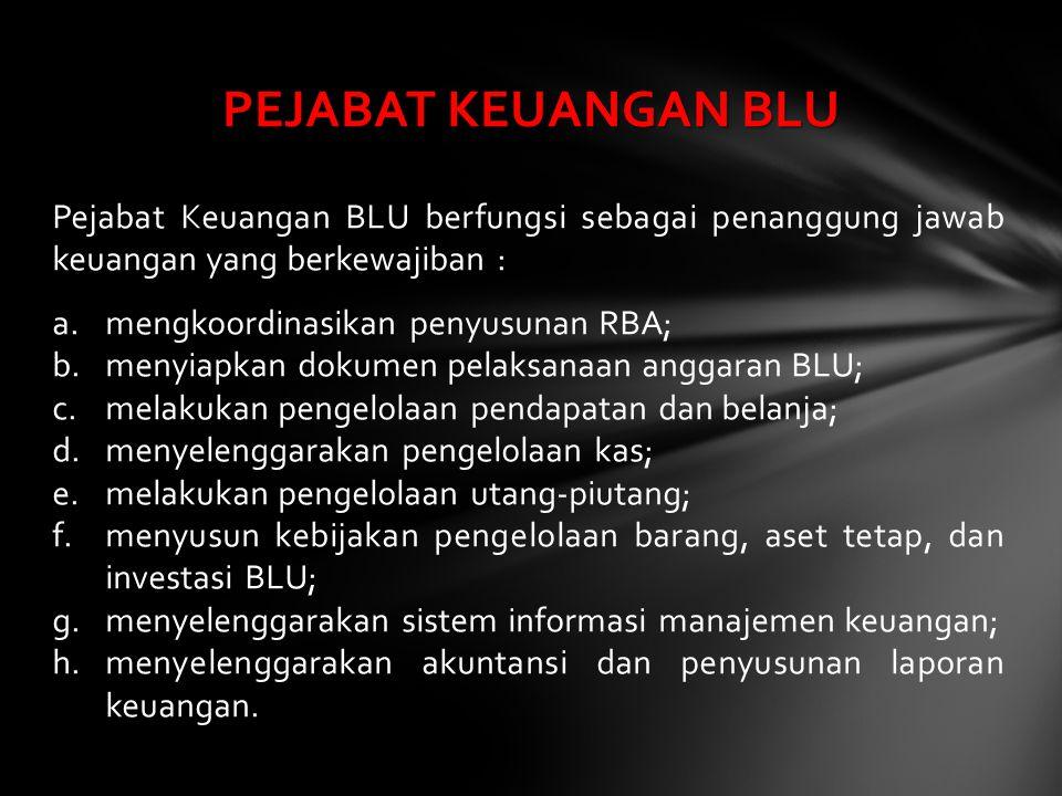 Pejabat Keuangan BLU berfungsi sebagai penanggung jawab keuangan yang berkewajiban : a.mengkoordinasikan penyusunan RBA; b.menyiapkan dokumen pelaksan