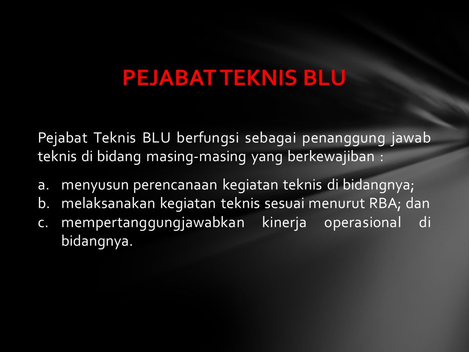 Pejabat Teknis BLU berfungsi sebagai penanggung jawab teknis di bidang masing-masing yang berkewajiban : a.menyusun perencanaan kegiatan teknis di bid