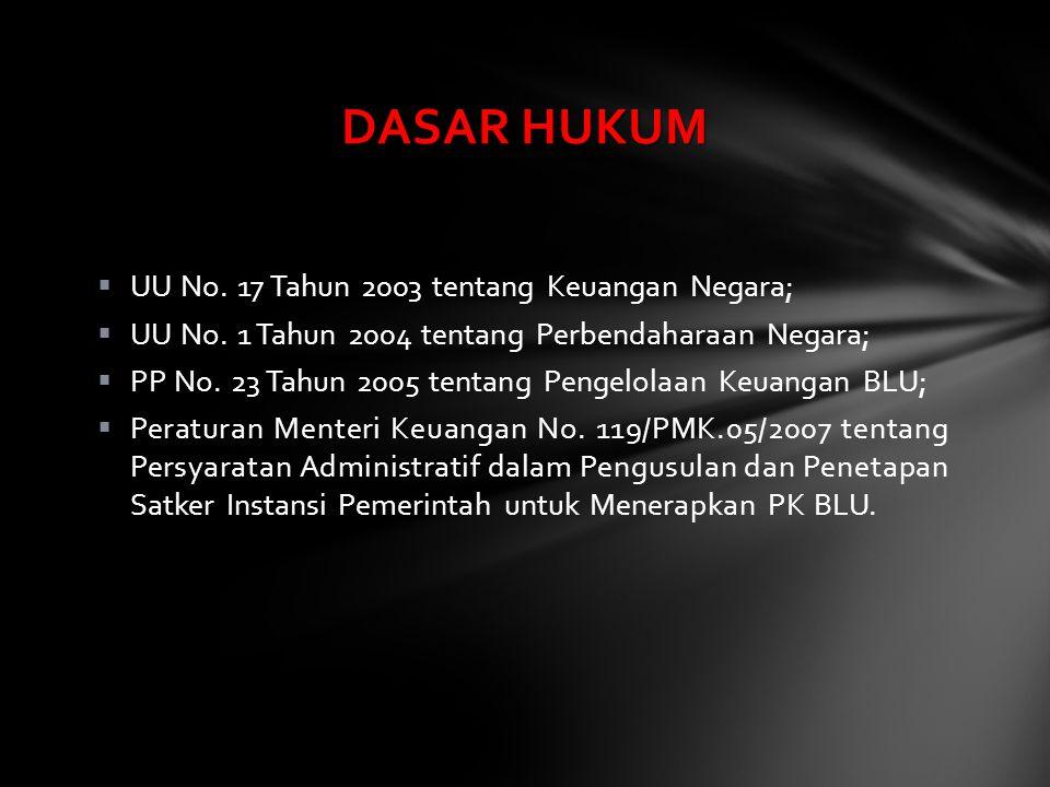  UU No. 17 Tahun 2003 tentang Keuangan Negara;  UU No. 1 Tahun 2004 tentang Perbendaharaan Negara;  PP No. 23 Tahun 2005 tentang Pengelolaan Keuang