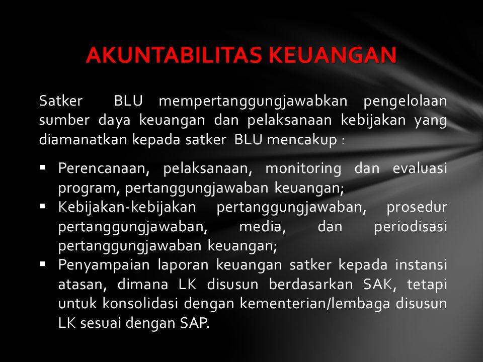 Satker BLU mempertanggungjawabkan pengelolaan sumber daya keuangan dan pelaksanaan kebijakan yang diamanatkan kepada satker BLU mencakup :  Perencana