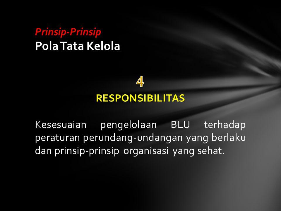 RESPONSIBILITAS Kesesuaian pengelolaan BLU terhadap peraturan perundang-undangan yang berlaku dan prinsip-prinsip organisasi yang sehat. Prinsip-Prins