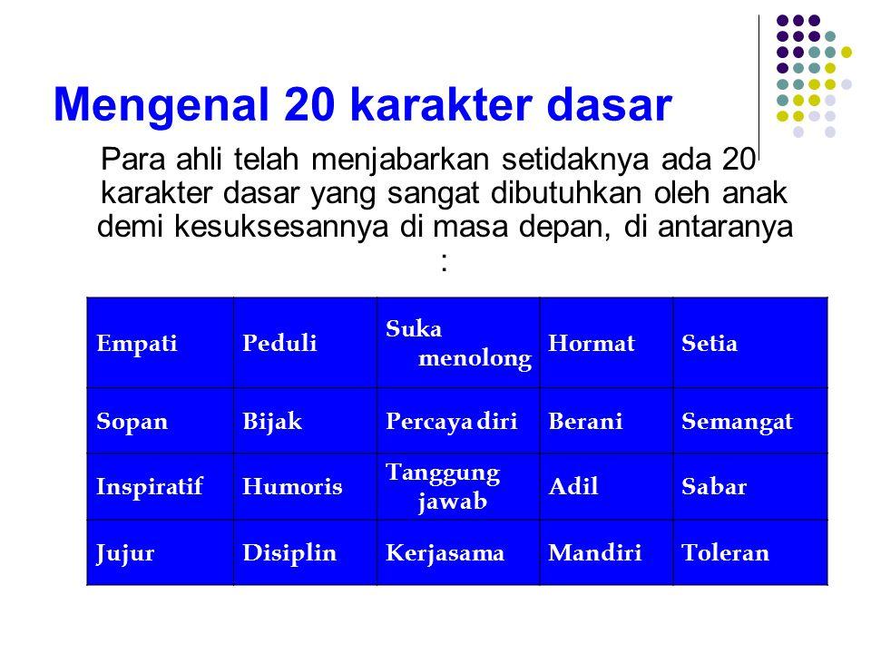 Mengenal 20 karakter dasar Para ahli telah menjabarkan setidaknya ada 20 karakter dasar yang sangat dibutuhkan oleh anak demi kesuksesannya di masa de