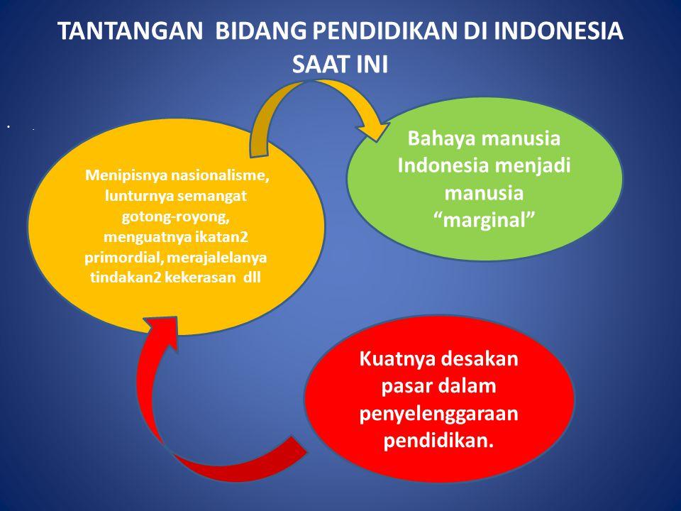 """TANTANGAN BIDANG PENDIDIKAN DI INDONESIA SAAT INI. Bahaya manusia Indonesia menjadi manusia """"marginal"""" Kuatnya desakan pasar dalam penyelenggaraan pen"""