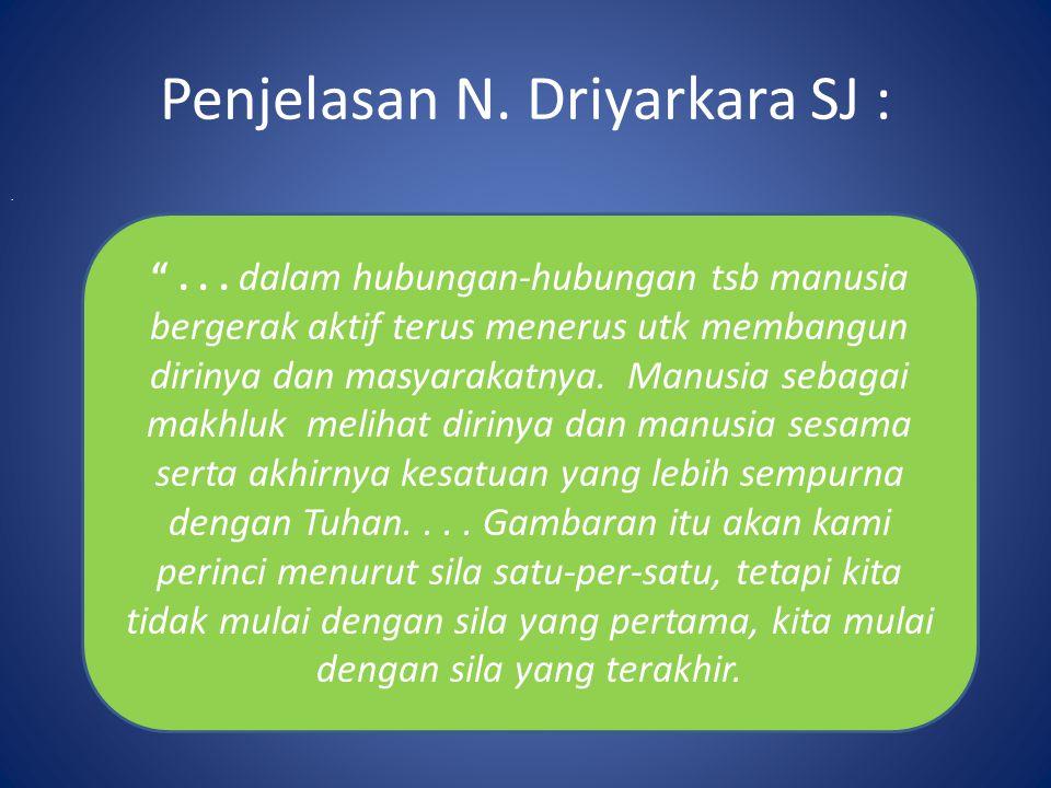 """Penjelasan N. Driyarkara SJ :. """"... dalam hubungan-hubungan tsb manusia bergerak aktif terus menerus utk membangun dirinya dan masyarakatnya. Manusia"""