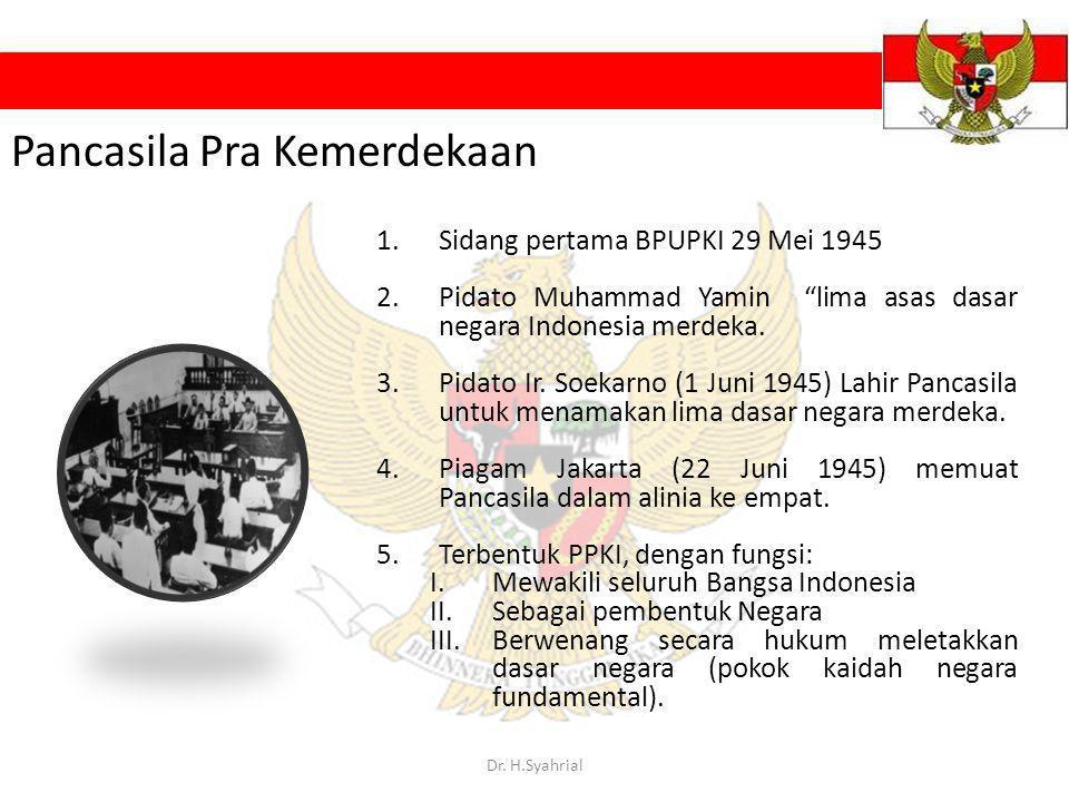 "1.Sidang pertama BPUPKI 29 Mei 1945 2.Pidato Muhammad Yamin ""lima asas dasar negara Indonesia merdeka. 3.Pidato Ir. Soekarno (1 Juni 1945) Lahir Panca"