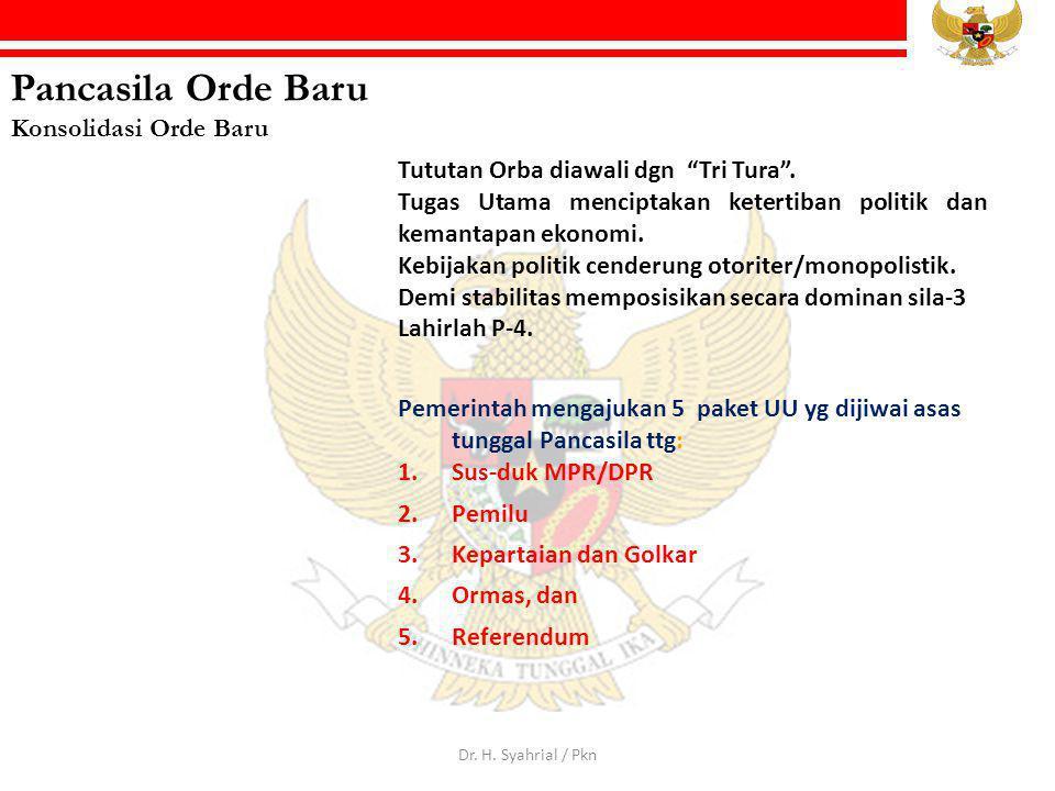"""Pancasila Orde Baru Konsolidasi Orde Baru Tututan Orba diawali dgn """"Tri Tura"""". Tugas Utama menciptakan ketertiban politik dan kemantapan ekonomi. Kebi"""