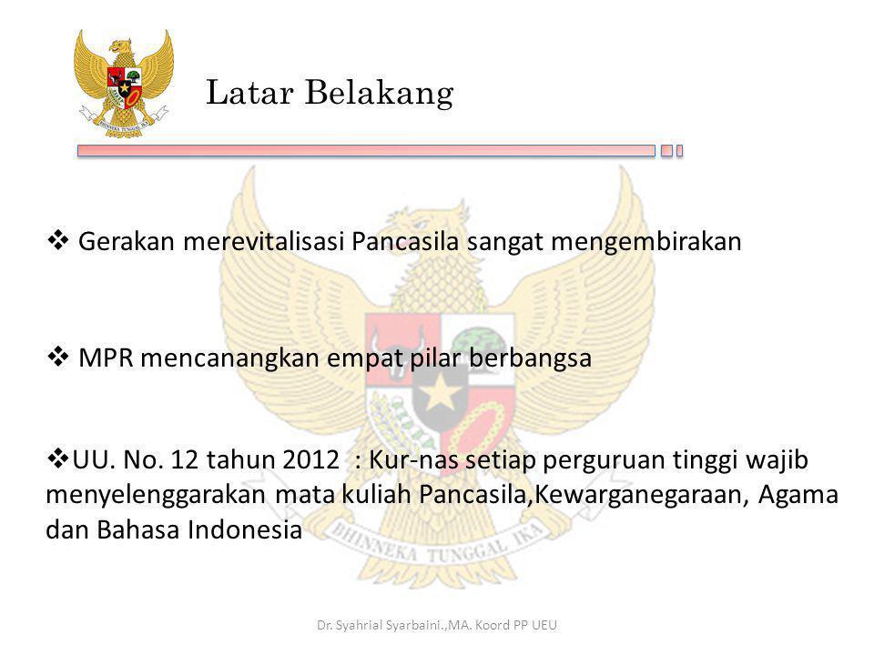 Latar Belakang  Gerakan merevitalisasi Pancasila sangat mengembirakan  MPR mencanangkan empat pilar berbangsa Dr. Syahrial Syarbaini.,MA. Koord PP U