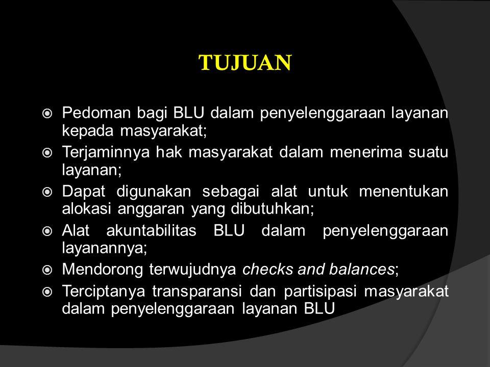  Pedoman bagi BLU dalam penyelenggaraan layanan kepada masyarakat;  Terjaminnya hak masyarakat dalam menerima suatu layanan;  Dapat digunakan sebag