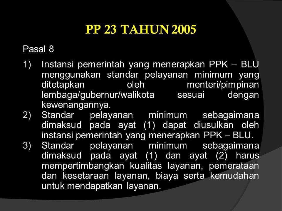 Pasal 8 1)Instansi pemerintah yang menerapkan PPK – BLU menggunakan standar pelayanan minimum yang ditetapkan oleh menteri/pimpinan lembaga/gubernur/w