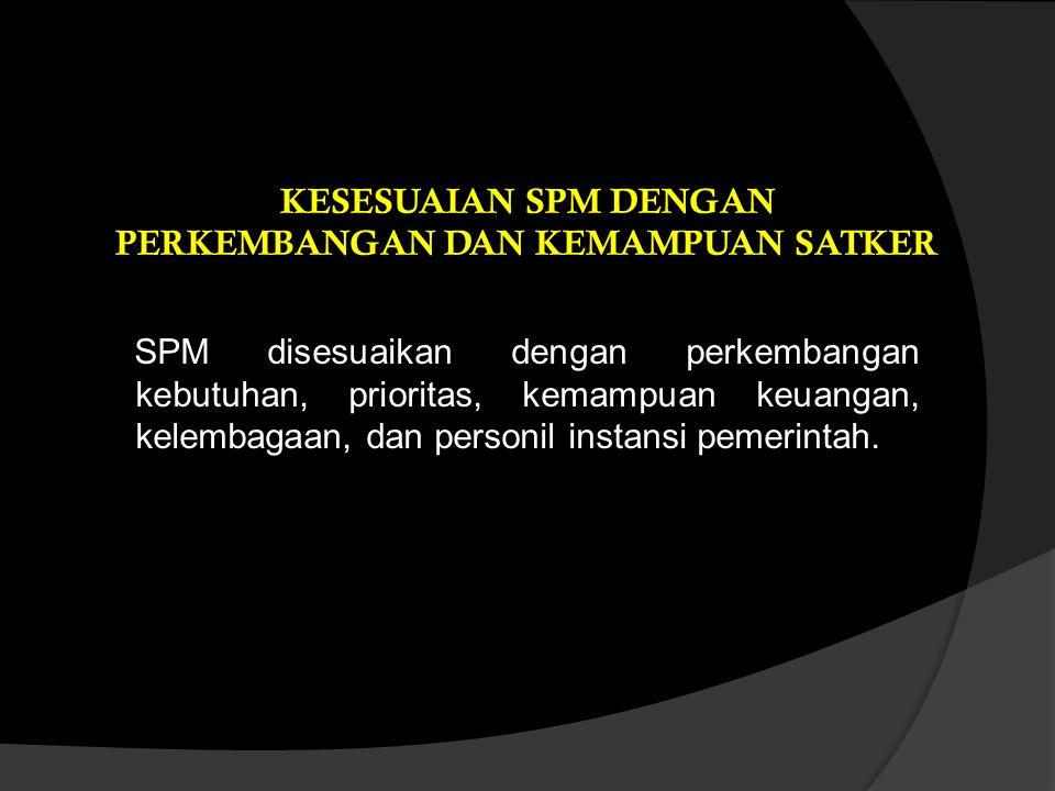 SPM disesuaikan dengan perkembangan kebutuhan, prioritas, kemampuan keuangan, kelembagaan, dan personil instansi pemerintah. KESESUAIAN SPM DENGAN PER