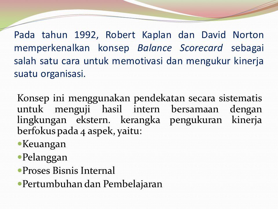 Pada tahun 1992, Robert Kaplan dan David Norton memperkenalkan konsep Balance Scorecard sebagai salah satu cara untuk memotivasi dan mengukur kinerja