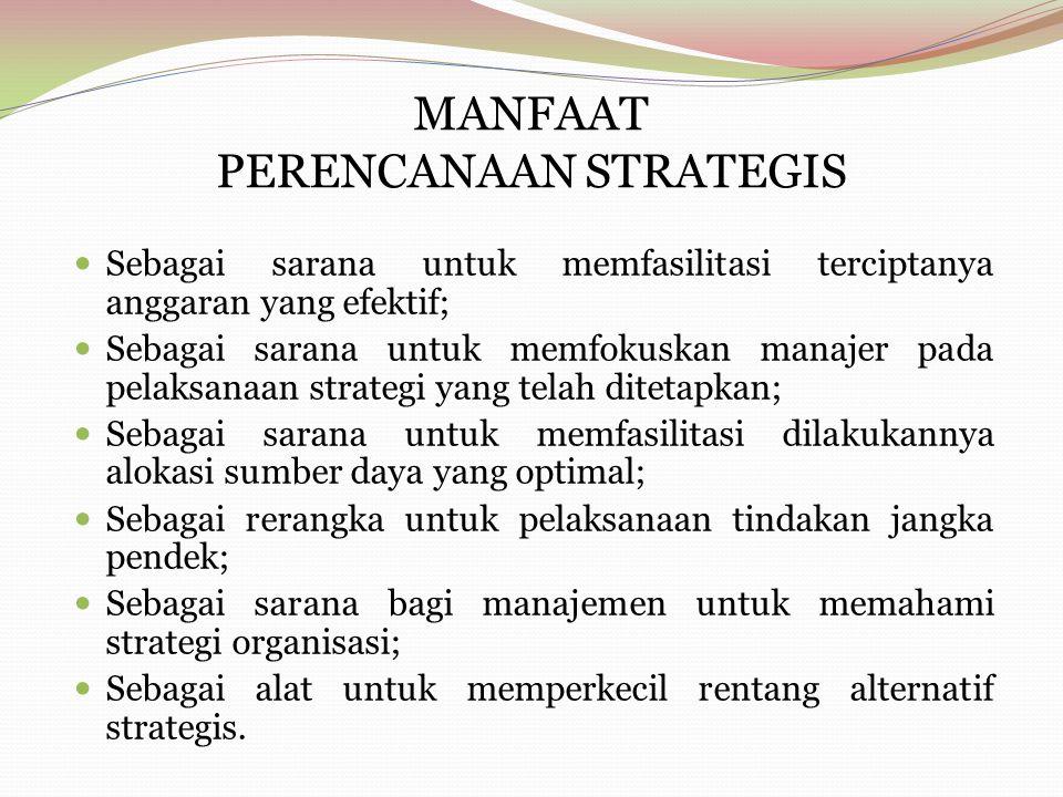 MANFAAT PERENCANAAN STRATEGIS Sebagai sarana untuk memfasilitasi terciptanya anggaran yang efektif; Sebagai sarana untuk memfokuskan manajer pada pela