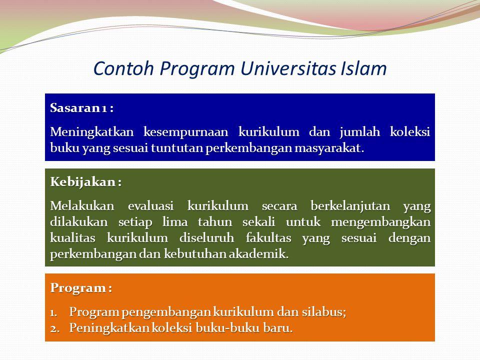 Contoh Program Universitas Islam Sasaran 1 : Meningkatkan kesempurnaan kurikulum dan jumlah koleksi buku yang sesuai tuntutan perkembangan masyarakat.