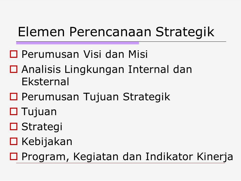 Elemen Perencanaan Strategik  Perumusan Visi dan Misi  Analisis Lingkungan Internal dan Eksternal  Perumusan Tujuan Strategik  Tujuan  Strategi 
