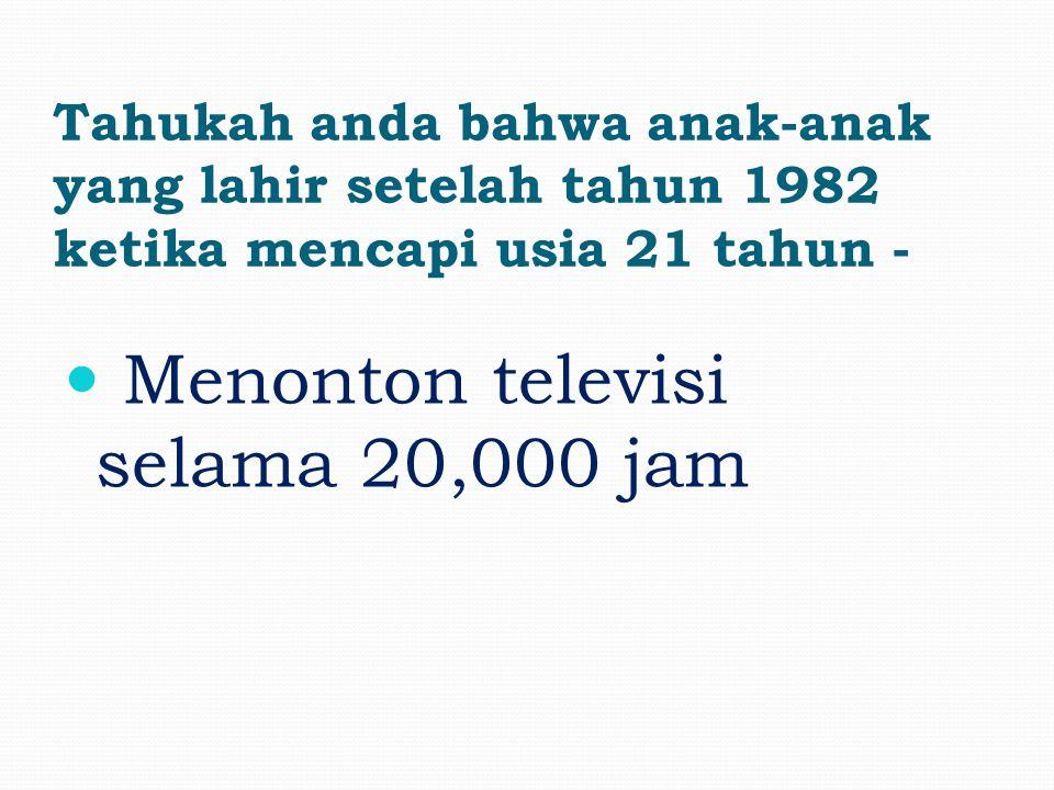 Tahukah anda bahwa anak-anak yang lahir setelah tahun 1982 ketika mencapi usia 21 tahun - Telah menghabiskan 10,000 jam untuk bermain 'video games'