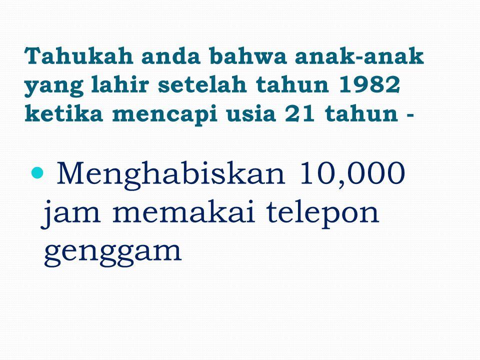 Tahukah anda bahwa anak-anak yang lahir setelah tahun 1982 ketika mencapi usia 21 tahun - Mengirim 200,000 email