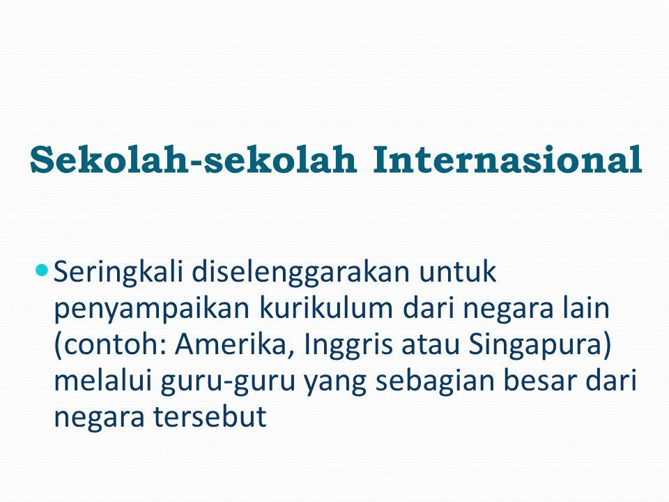 Seringkali diselenggarakan untuk penyampaikan kurikulum dari negara lain (contoh: Amerika, Inggris atau Singapura) melalui guru-guru yang sebagian besar dari negara tersebut Sekolah-sekolah Internasional