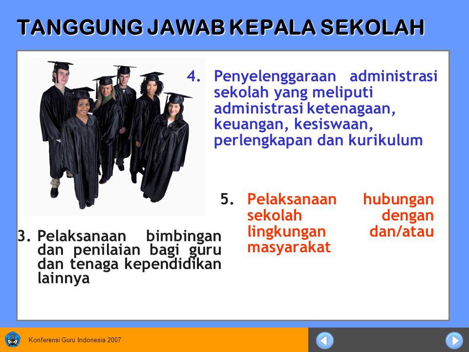 Konferensi Guru Indonesia 2007 TANGGUNG JAWAB KEPALA SEKOLAH 5.Pelaksanaan hubungan sekolah dengan lingkungan dan/atau masyarakat 3.Pelaksanaan bimbingan dan penilaian bagi guru dan tenaga kependidikan lainnya 4.Penyelenggaraan administrasi sekolah yang meliputi administrasi ketenagaan, keuangan, kesiswaan, perlengkapan dan kurikulum