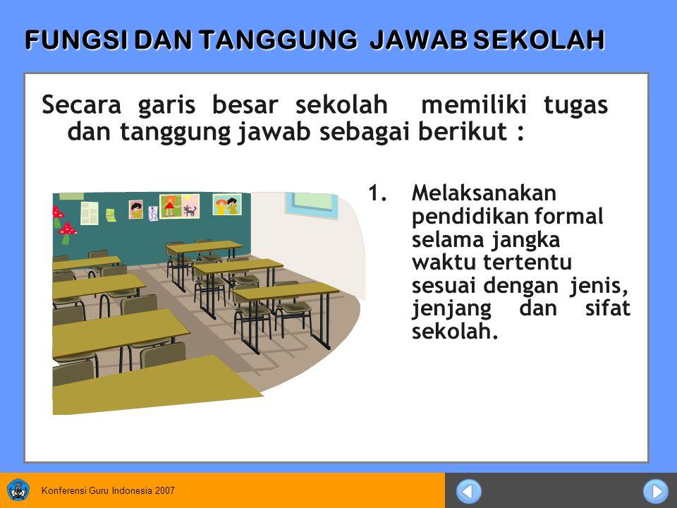Konferensi Guru Indonesia 2007 FUNGSI DAN TANGGUNG JAWAB SEKOLAH 1.Melaksanakan pendidikan formal selama jangka waktu tertentu sesuai dengan jenis, jenjang dan sifat sekolah.