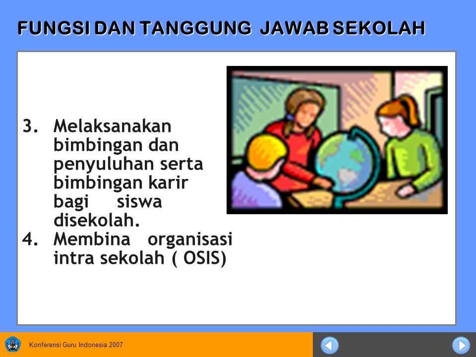Konferensi Guru Indonesia 2007 FUNGSI DAN TANGGUNG JAWAB SEKOLAH 3.Melaksanakan bimbingan dan penyuluhan serta bimbingan karir bagi siswa disekolah.