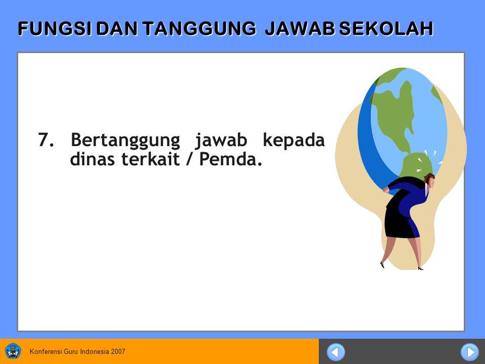 Konferensi Guru Indonesia 2007 FUNGSI DAN TANGGUNG JAWAB SEKOLAH 7.