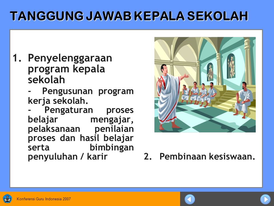 Konferensi Guru Indonesia 2007 TANGGUNG JAWAB KEPALA SEKOLAH 1.Penyelenggaraan program kepala sekolah - Pengusunan program kerja sekolah.