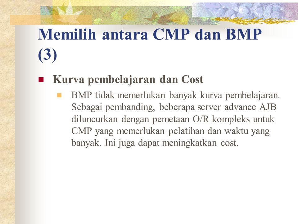Memilih antara CMP dan BMP (3) Kurva pembelajaran dan Cost BMP tidak memerlukan banyak kurva pembelajaran.