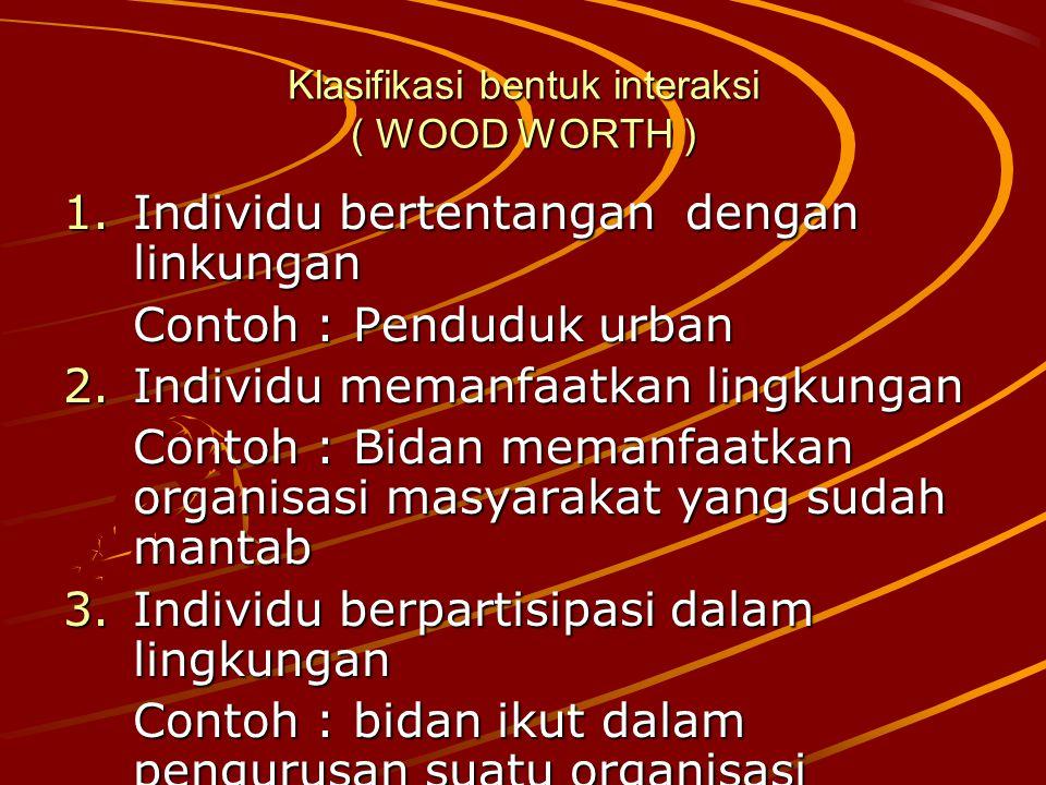 Klasifikasi bentuk interaksi ( WOOD WORTH ) 1.I ndividu bertentangan dengan linkungan Contoh : Penduduk urban 2.I ndividu memanfaatkan lingkungan Cont