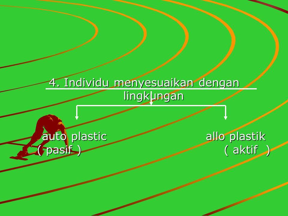 4. Individu menyesuaikan dengan lingkungan auto plastic allo plastik ( pasif ) ( aktif )