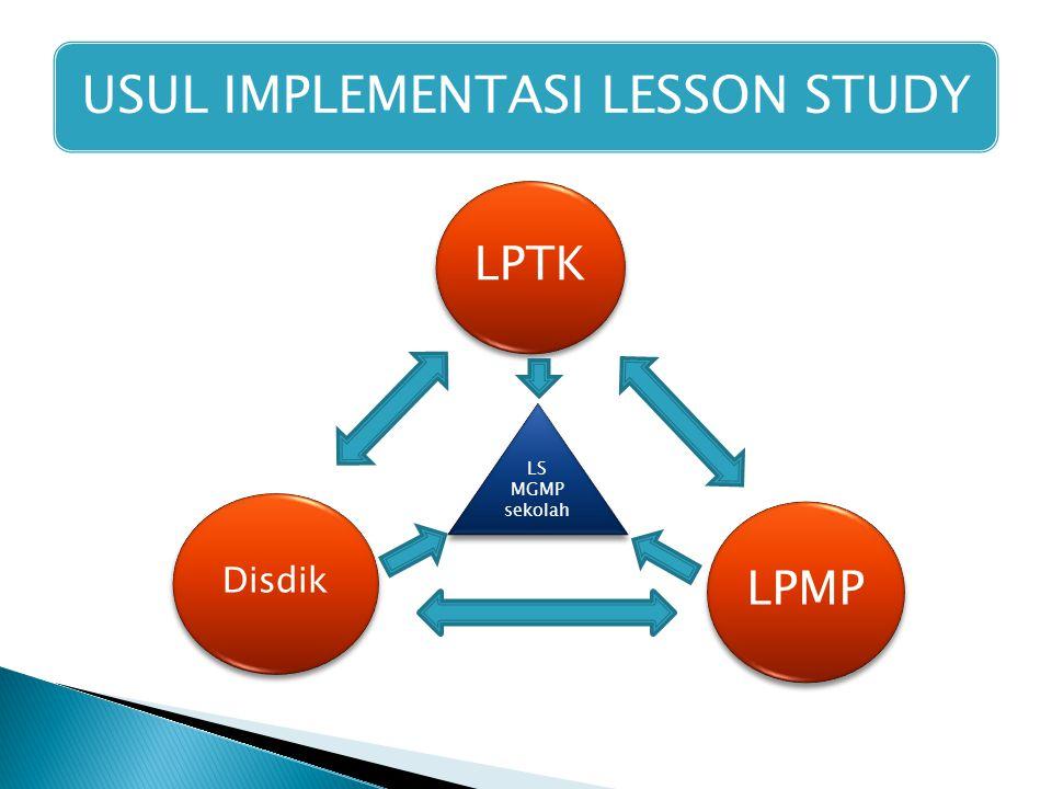 USUL IMPLEMENTASI LESSON STUDY LPTK Disdik LPMP LS MGMP sekolah