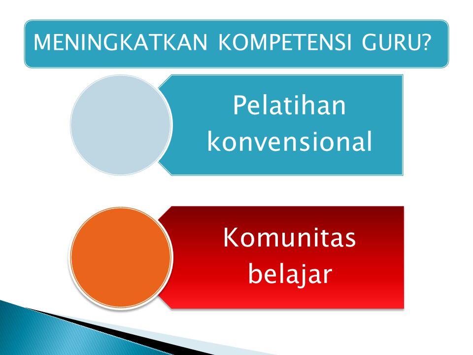 MENINGKATKAN KOMPETENSI GURU Pelatihan konvensional Komunitas belajar