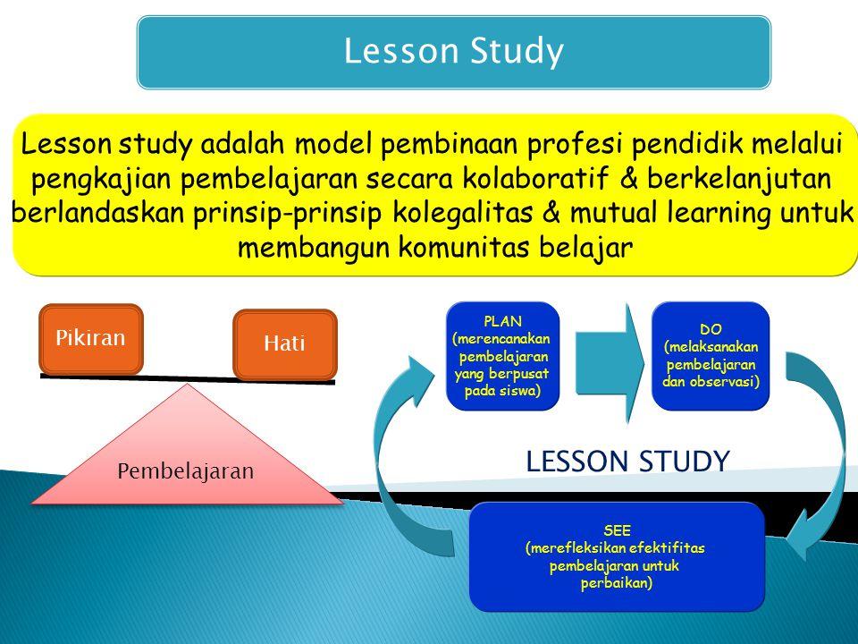 Lesson Study Lesson study adalah model pembinaan profesi pendidik melalui pengkajian pembelajaran secara kolaboratif & berkelanjutan berlandaskan prinsip-prinsip kolegalitas & mutual learning untuk membangun komunitas belajar PLAN (merencanakan pembelajaran yang berpusat pada siswa) DO (melaksanakan pembelajaran dan observasi) SEE (merefleksikan efektifitas pembelajaran untuk perbaikan) LESSON STUDY Pembelajaran Pikiran Hati