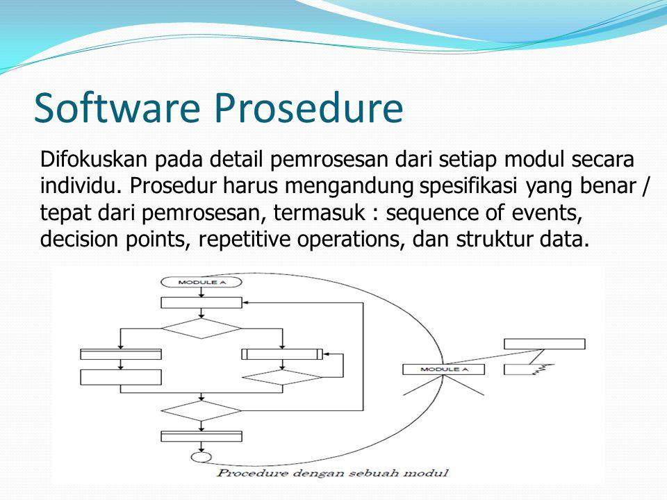 Software Prosedure Difokuskan pada detail pemrosesan dari setiap modul secara individu.