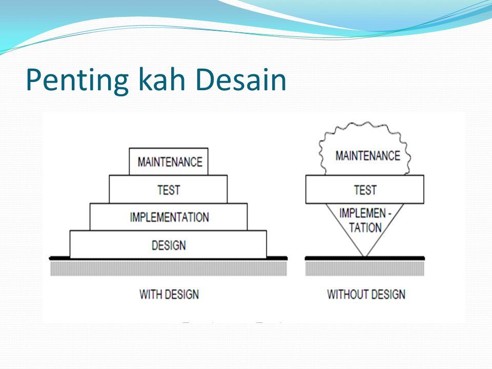Proses Desain  Software design  Suatu proses yang melewati serangkaian kebutuhan yang membentuk sebuah perangkat lunak  Software design dibagi dalam 2 tahap : 1.