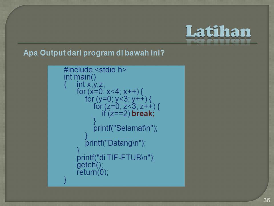 Apa Output dari program di bawah ini.