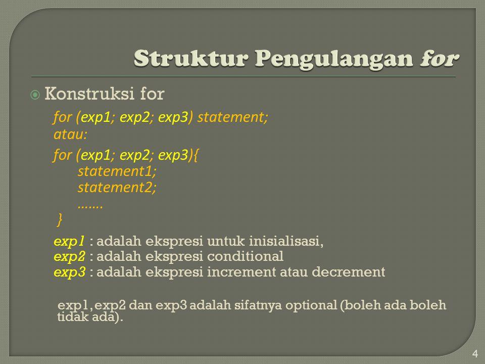 Konstruksi for for (exp1; exp2; exp3) statement; atau: for (exp1; exp2; exp3){ statement1; statement2; …….