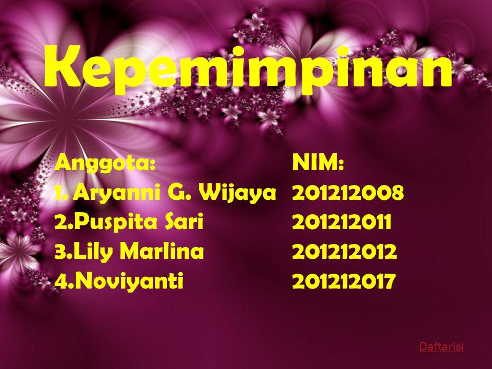 Kepemimpinan Anggota: 1.Aryanni G. Wijaya 2.Puspita Sari 3.Lily Marlina 4.Noviyanti NIM: 201212008 201212011 201212012 201212017 DaftarIsi