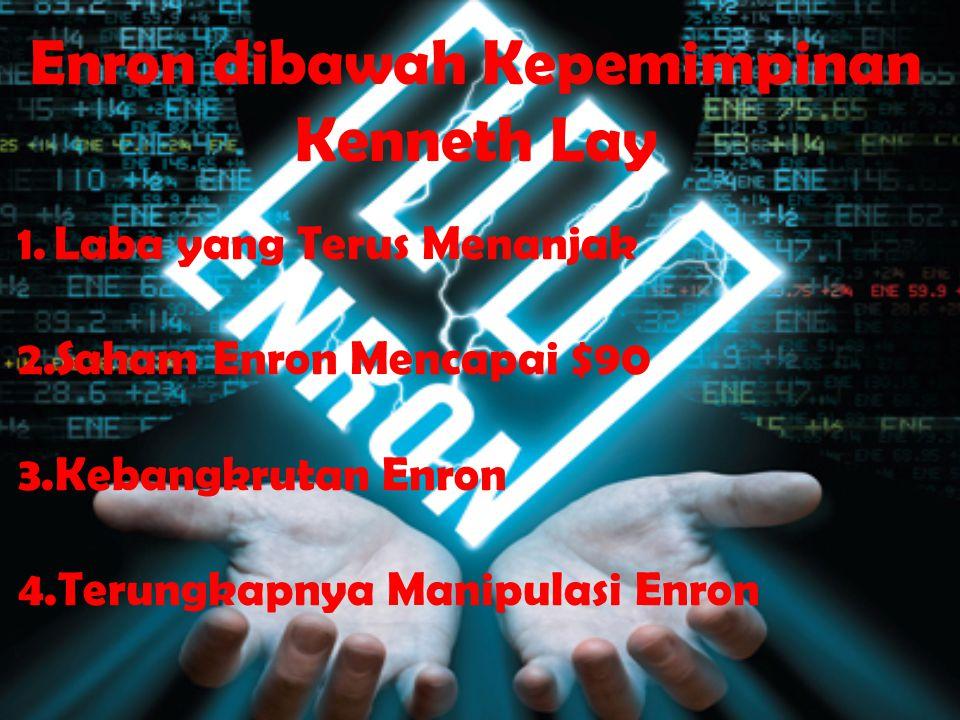 Enron dibawah Kepemimpinan Kenneth Lay 1.Laba yang Terus Menanjak 2.Saham Enron Mencapai $90 3.Kebangkrutan Enron 4.Terungkapnya Manipulasi Enron