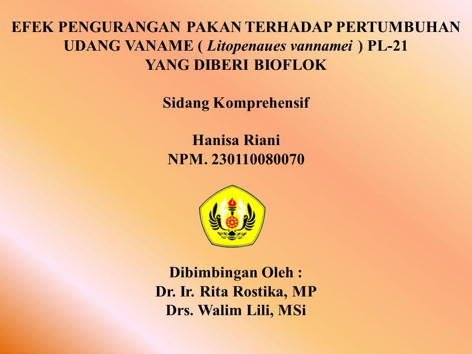 EFEK PENGURANGAN PAKAN TERHADAP PERTUMBUHAN UDANG VANAME ( Litopenaues vannamei ) PL-21 YANG DIBERI BIOFLOK Sidang Komprehensif Hanisa Riani NPM.