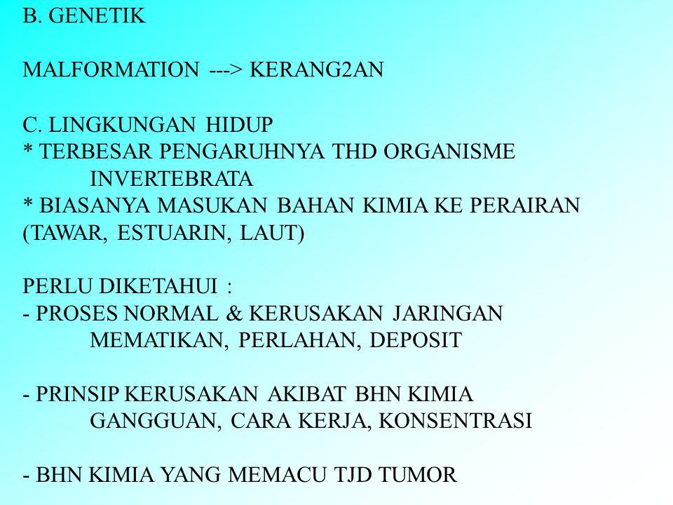 B. GENETIK MALFORMATION ---> KERANG2AN C.