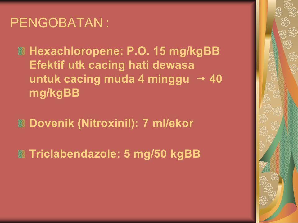 PENGOBATAN : Hexachloropene: P.O. 15 mg/kgBB Efektif utk cacing hati dewasa untuk cacing muda 4 minggu  40 mg/kgBB Dovenik (Nitroxinil): 7 ml/ekor Tr