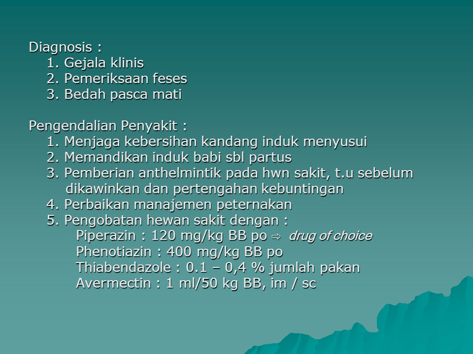 ASCARIASIS PADA ANJING PENYEBAB : Toxocara canis HABITAT CACING DEWASA : Usus halus CARA PENULARAN : - Per oral (tertelannya telur infektif ) - Prenatal infection (melalui plasenta) - Trans mammary infection = Lactogenic infection - Paratenic host → telur infektif tertelan i.s paratenic (tikus, mencit) → L3 dalam otot → dimakan hospes → L3 akan mjd.