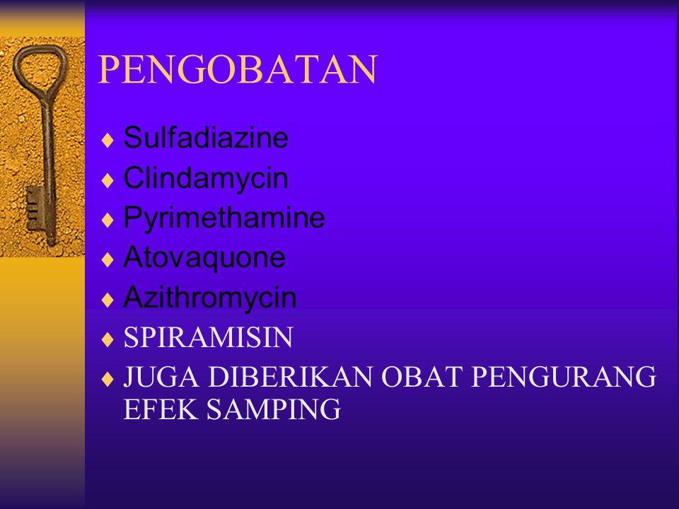 PENGOBATAN  Sulfadiazine  Clindamycin  Pyrimethamine  Atovaquone  Azithromycin  SPIRAMISIN  JUGA DIBERIKAN OBAT PENGURANG EFEK SAMPING