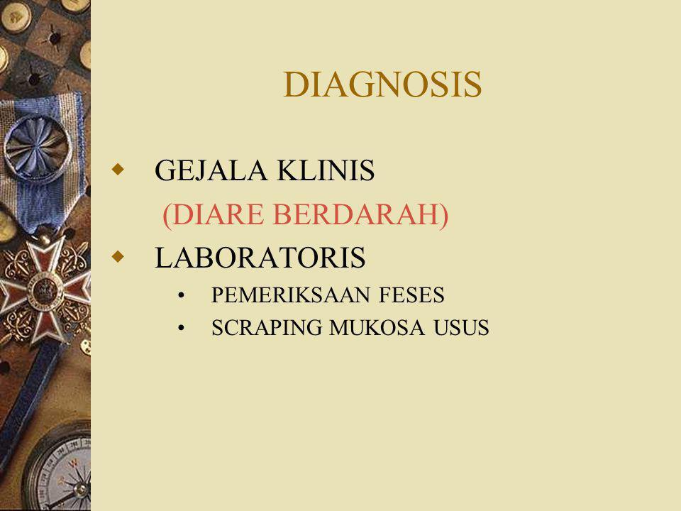 DIAGNOSIS  GEJALA KLINIS (DIARE BERDARAH)  LABORATORIS PEMERIKSAAN FESES SCRAPING MUKOSA USUS