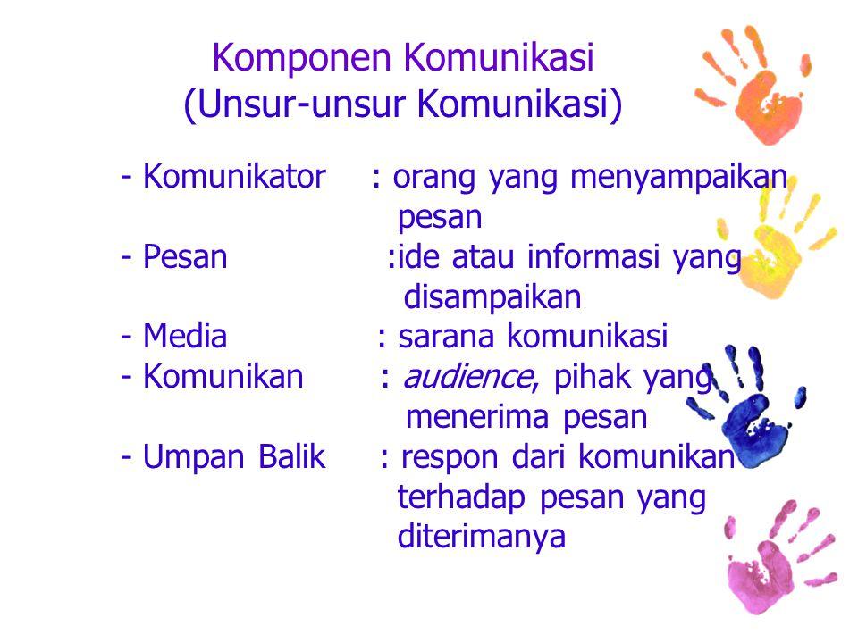 Komponen Komunikasi (Unsur-unsur Komunikasi) - Komunikator : orang yang menyampaikan pesan - Pesan :ide atau informasi yang disampaikan - Media : sarana komunikasi - Komunikan : audience, pihak yang menerima pesan - Umpan Balik : respon dari komunikan terhadap pesan yang diterimanya