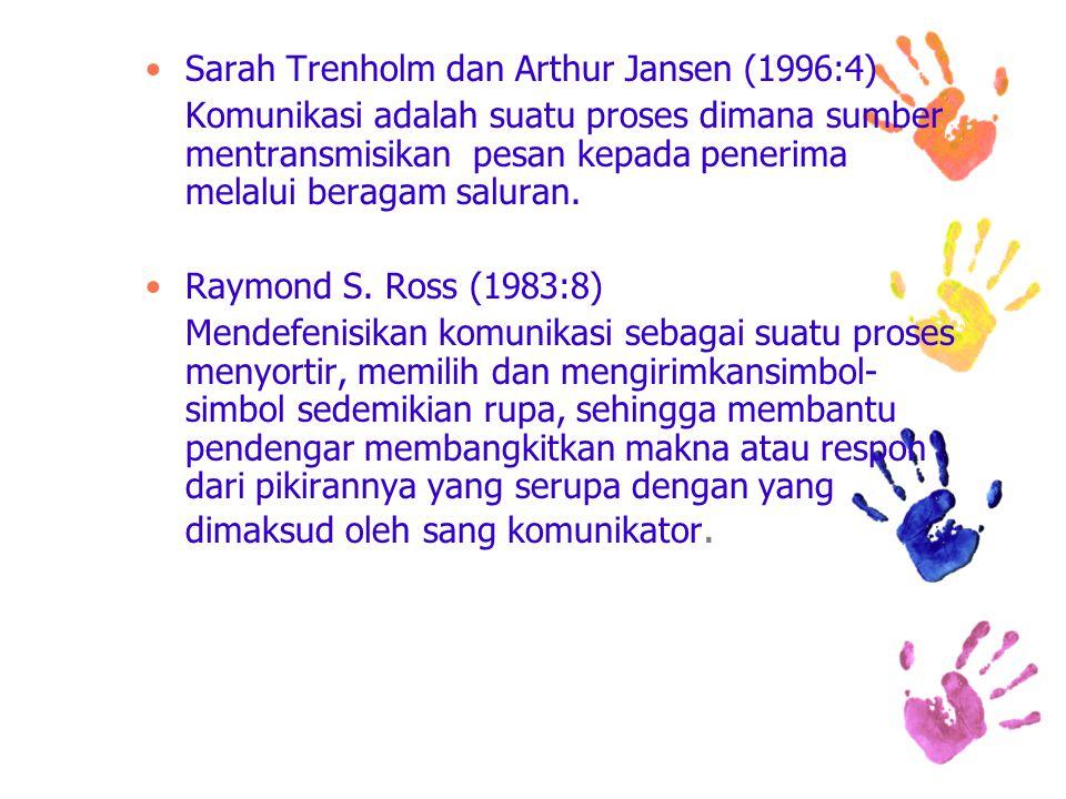 Sarah Trenholm dan Arthur Jansen (1996:4) Komunikasi adalah suatu proses dimana sumber mentransmisikan pesan kepada penerima melalui beragam saluran.