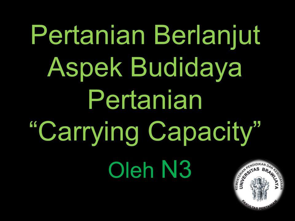 """Pertanian Berlanjut Aspek Budidaya Pertanian """"Carrying Capacity"""" Oleh N3"""