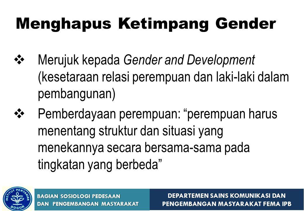 DEPARTEMEN SAINS KOMUNIKASI DAN PENGEMBANGAN MASYARAKAT FEMA IPB BAGIAN SOSIOLOGI PEDESAAN DAN PENGEMBANGAN MASYARAKAT Menghapus Ketimpang Gender  Me