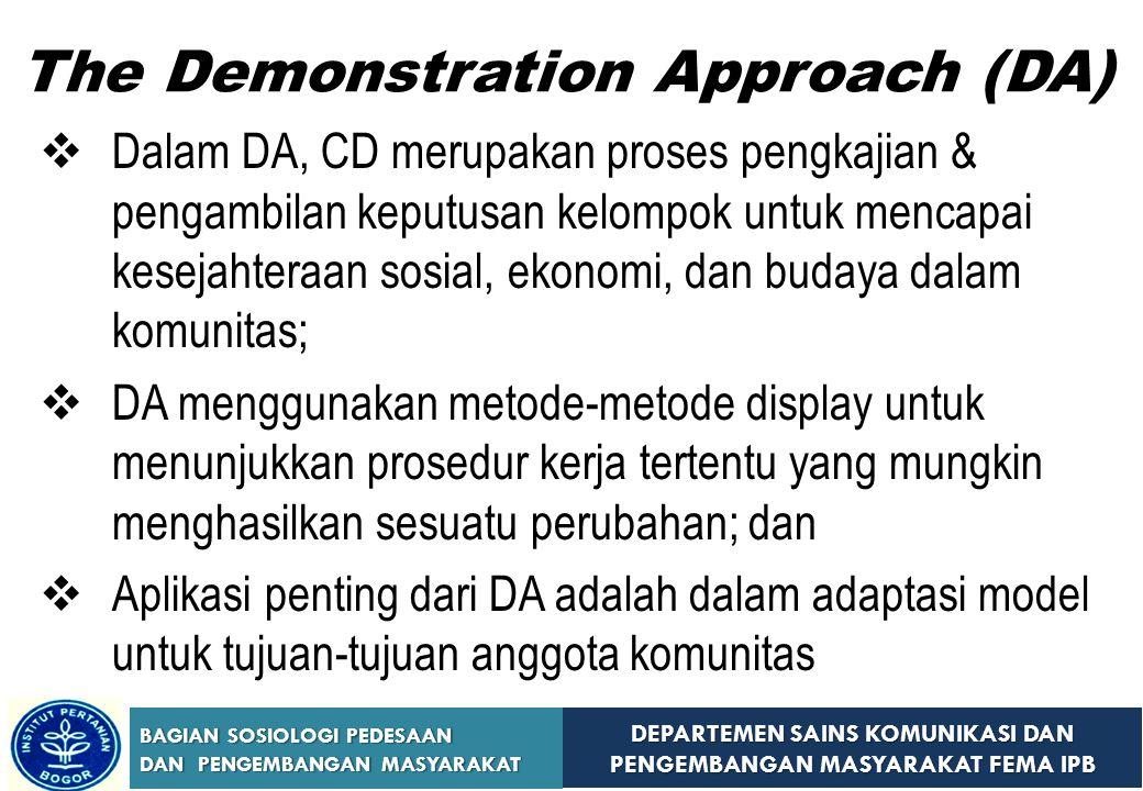 DEPARTEMEN SAINS KOMUNIKASI DAN PENGEMBANGAN MASYARAKAT FEMA IPB BAGIAN SOSIOLOGI PEDESAAN DAN PENGEMBANGAN MASYARAKAT The Demonstration Approach (DA)