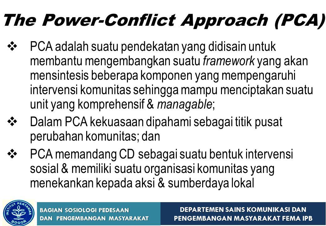 DEPARTEMEN SAINS KOMUNIKASI DAN PENGEMBANGAN MASYARAKAT FEMA IPB BAGIAN SOSIOLOGI PEDESAAN DAN PENGEMBANGAN MASYARAKAT The Power-Conflict Approach (PC